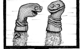 Illustration: Sock puppets by John Camejo for The Washington Times