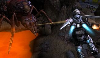 Control a Strike Force Lightning Jet soldier in the video game Earth Defense Force: Insect Armageddon.