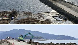 In this combo of two photos, people walk along Prefectural Highway 30 sandwiched by floodwaters in Ishinomaki, Miyagi prefecture, northeastern Japan, on March 24, 2011, after the devastating earthquake and tsunami hit the area, top, and the same area, bottom, with an earth mover goes on reconstruction work as photographed on June 4, 2011. A strong earthquake hit hit Japan's northeastern coast on Sunday, but there were not any immediate reports of damage.