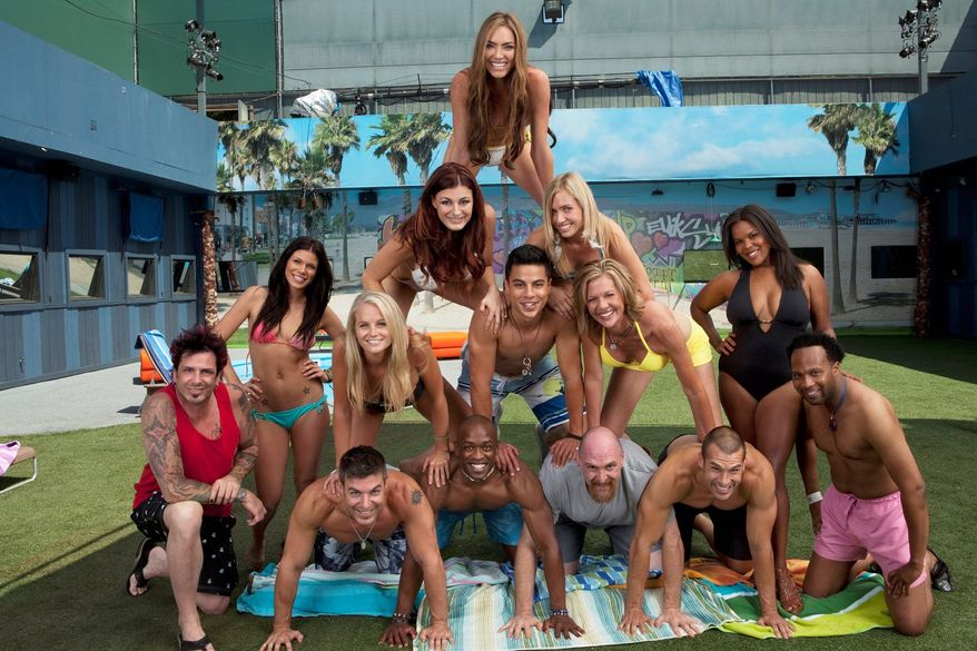 """ASSOCIATED PRESS/CBS The cast of """"Big Brother 13"""" consists of eight new guests and a few power duos from previous seasons. The new chapter of the voyeuristic reality TV series, titled """"Double Trouble,"""" premieres Thursday on CBS."""