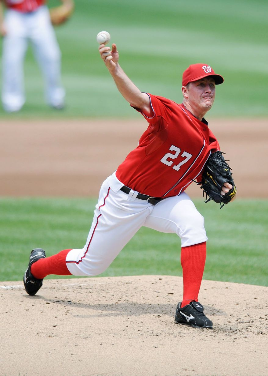 Washington Nationals starting pitcher Jordan Zimmermann delivers against the Colorado Rockies during the fourth inning of a baseball game, Sunday, July 10, 2011, in Washington. (AP Photo/Nick Wass)