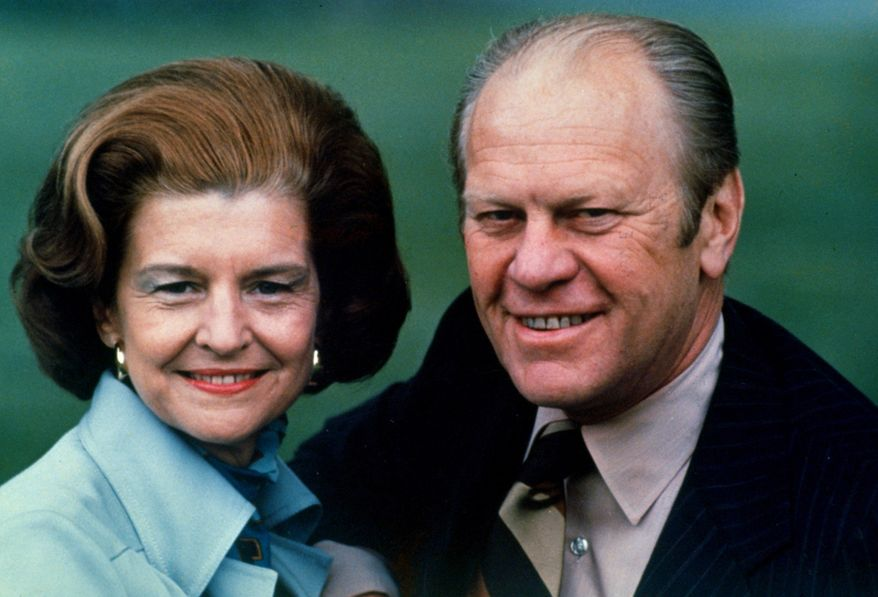 ** FILE ** First lady Betty Ford and President Gerald Ford are pictured in 1975 during his presidency. Mrs. Ford died Friday at age 93. (AP Photo/File)