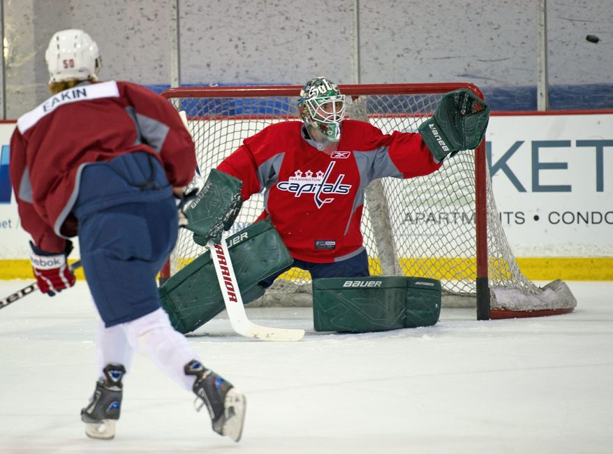 Goalie Steffen Soberg, drafted last month, displays his skills during the Washington Capitals' development camp at Kettler Capitals Iceplex in Arlington. (Rod Lamkey Jr./The Washington Times)