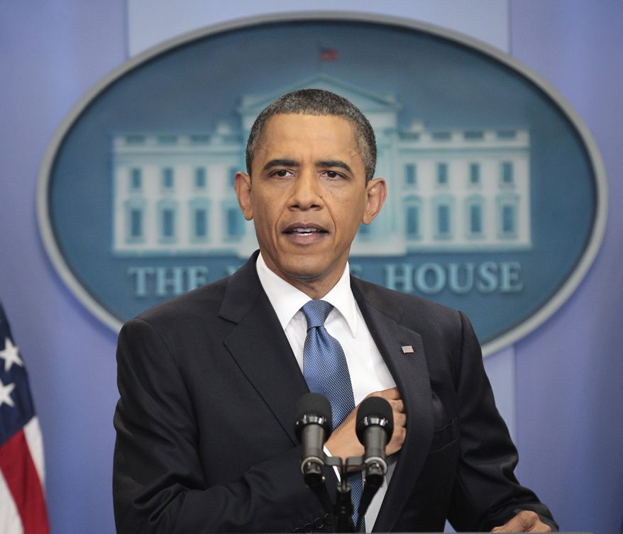 President Obama talks about the ongoing budget negotiations on Monday, July 11, 2011, in the press briefing room of the White House in Washington. (AP Photo/Pablo Martinez Monsivais)