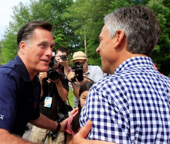 "Republican presidential candidates and fellow Mormons Mitt Romney (left) and Jon Huntsman Jr., were all smiles before the start of the Fourth of July parade this year in Amherst, N.H. ""It's not so much that the church is more or less accepted, it's that you have two well-qualified candidates who happen to be LDS,"" Quin Monson of Brigham Young University said. (Associated Press)"