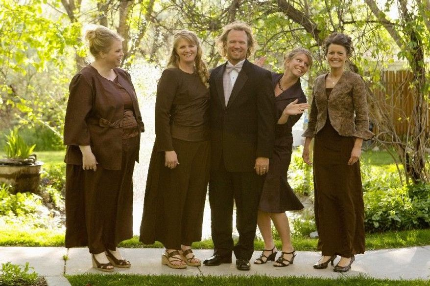 "TLC VIA ASSOCIATED PRESS Kody Brown and his four wives (from the left) Janelle, Christine, Meri and Robyn, from the TLC reality show ""Sister Wives,"" are challenging Utah's bigamy law with a suit to be filed Wednesday in Salt Lake City."