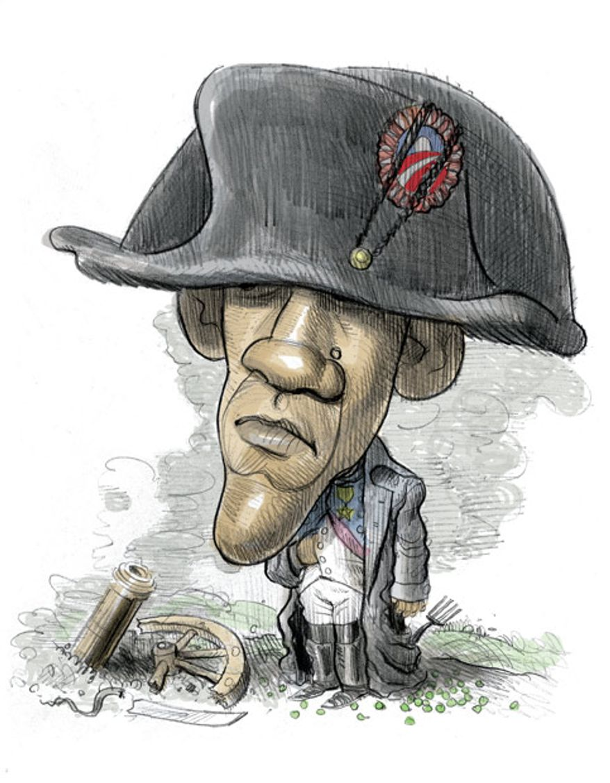 Illustration: Napoleon Obamapart by Alexander Hunter for The Washington Times