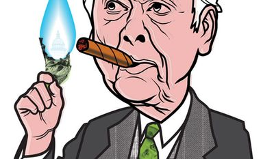 Illustration: T. Boone Pickens by Linas Garsys for The Washington Times