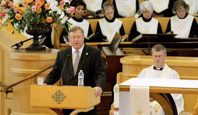 Jack Ford speaks during the funeral for former first lady Betty Ford at St. Margaret's Episcopal Church Tuesday, July 12, 2011, in Palm Desert, Calif.  (AP Photo/Jae C. Hong, Pool)