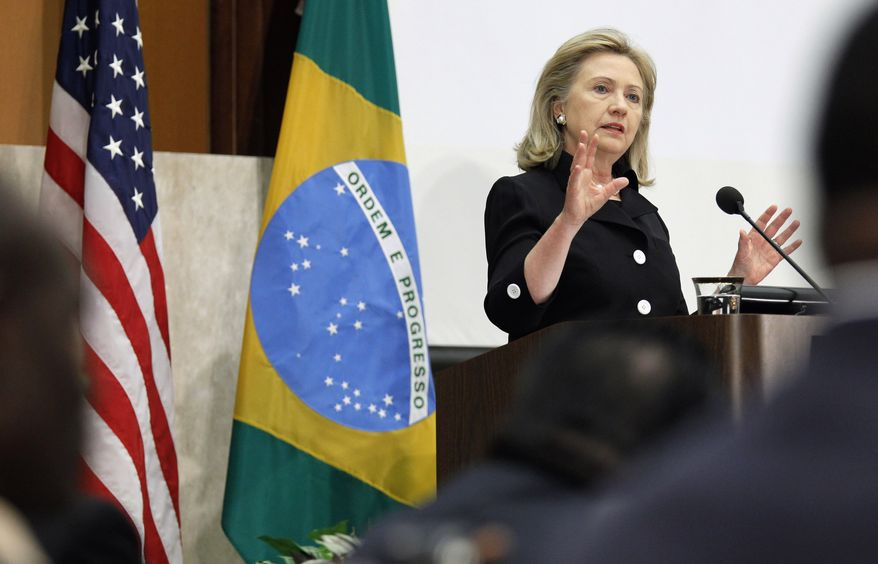 Secretary of State Hillary Rodham Clinton addresses the Open Government Partnership high-level meeting at the State Department in Washington on Tuesday, July 12, 2011. (AP Photo/Alex Brandon)