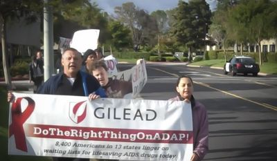 ** FILE ** A group of committed AIDS activists and advocates spearheaded by AIDS Healthcare Foundation (AHF) protested Gilead Sciences outside its Foster City headquarters earlier today over Gilead's pricing and policies on its HIV/AIDS medications. (Photo: Business Wire)