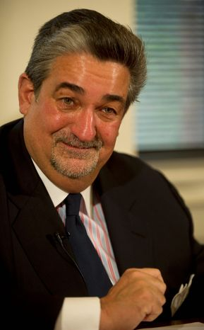 Ted Leonsis, majority owner of the Washington Capitals, Wizards, Mystics and Verizon Center, spoke at the National Press Club on Wednesday. (Rod Lamkey Jr./The Washington Times)
