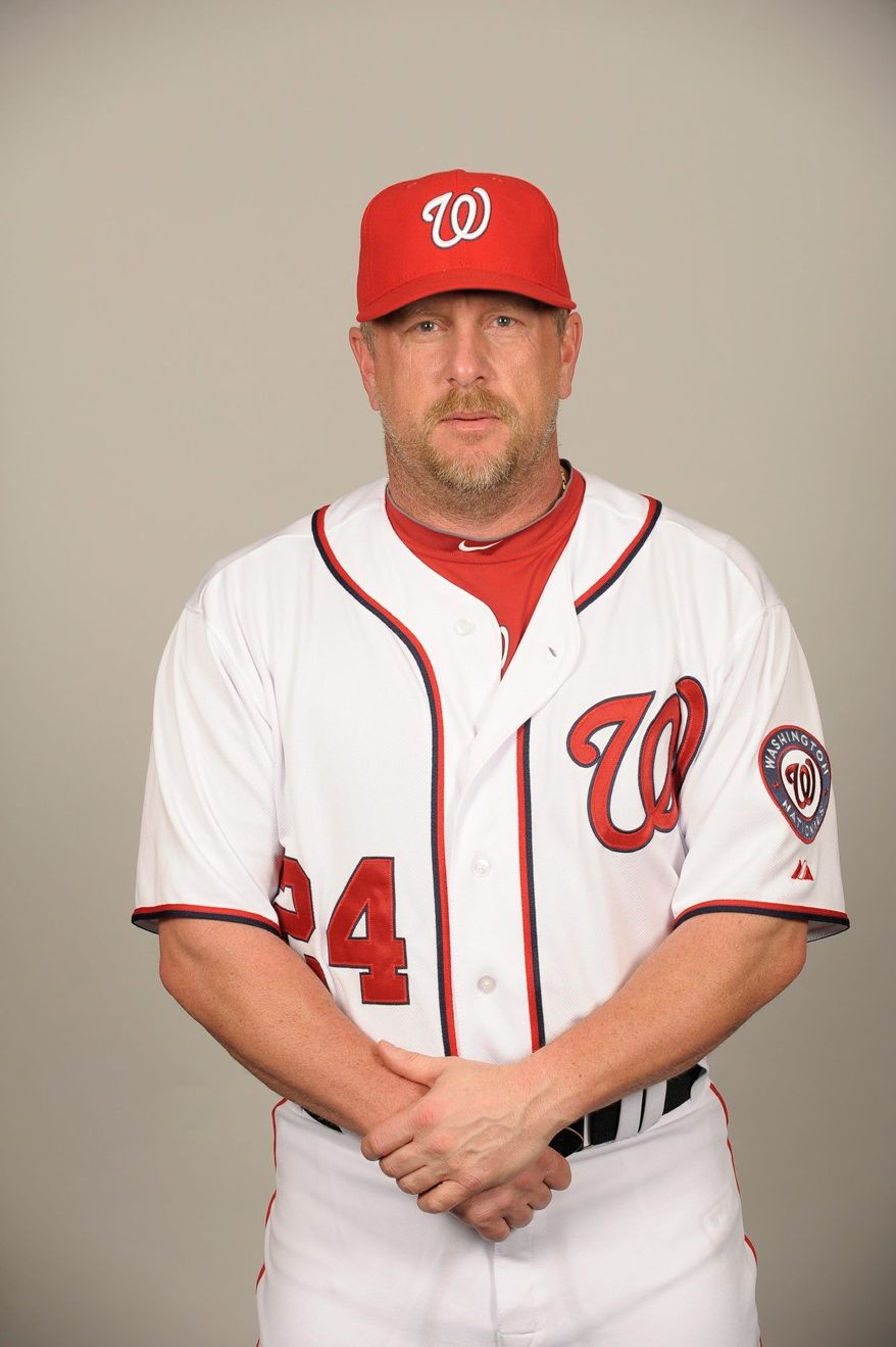 VIERA, FL - FEBRUARY 25: Matt Stairs #24 of the Washington Nationals poses during Photo Day on Friday, February 25, 2011 at Space Coast Stadium in Viera, Florida. (Photo by Tony Firriolo/MLB Photos)