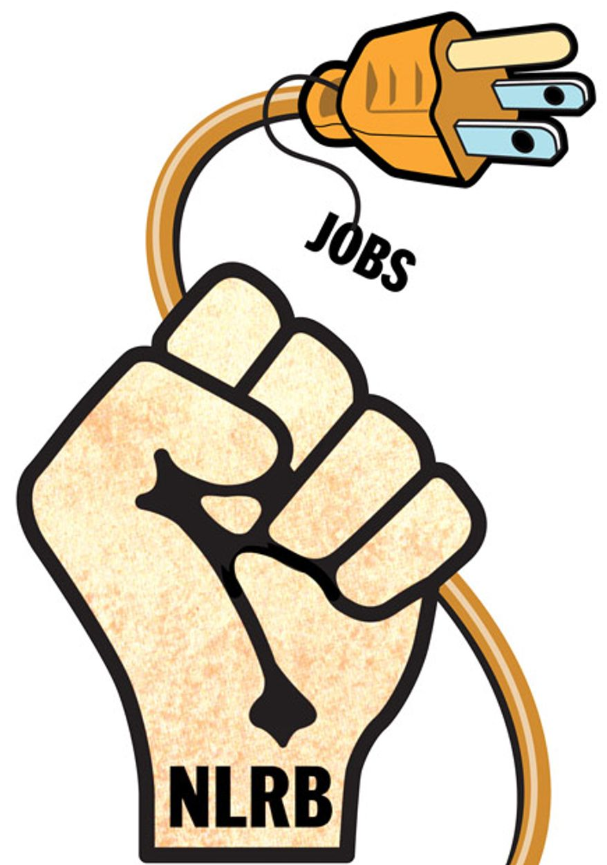 Illustration: NLRB jobs by Greg Groesch for The Washington Times