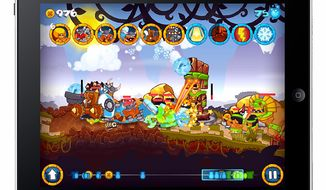 Vikings and Aztecs battle in the iPad game Swords and Soldiers.