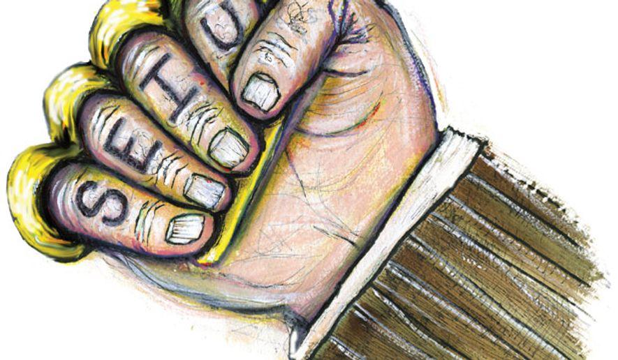 Illustration: SEIU by John Camejo for The Washington Times