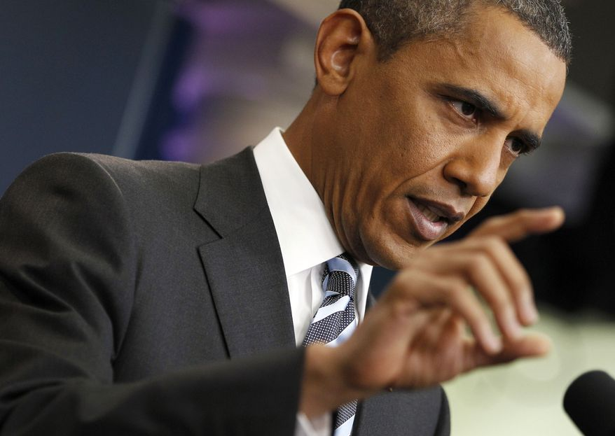 President Obama answers questions on the ongoing budget negotiations during a press conference at the White House on July 15, 2011. (Associated Press)