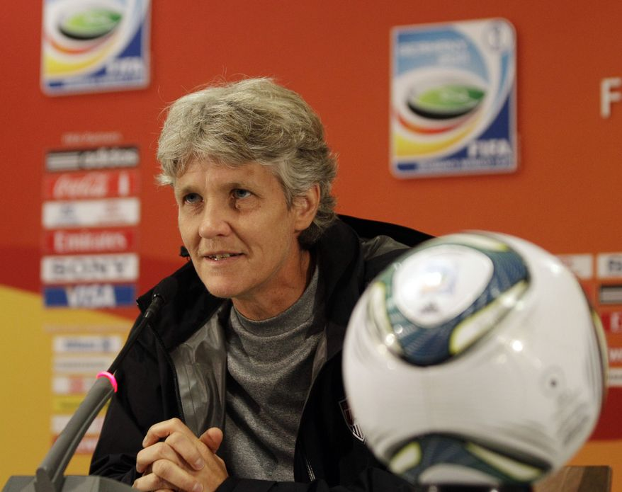 United States head coach Pia Sundhage talks to the media after practice preceding the World Cup final against Japan. (AP Photo/Marcio Jose Sanchez)