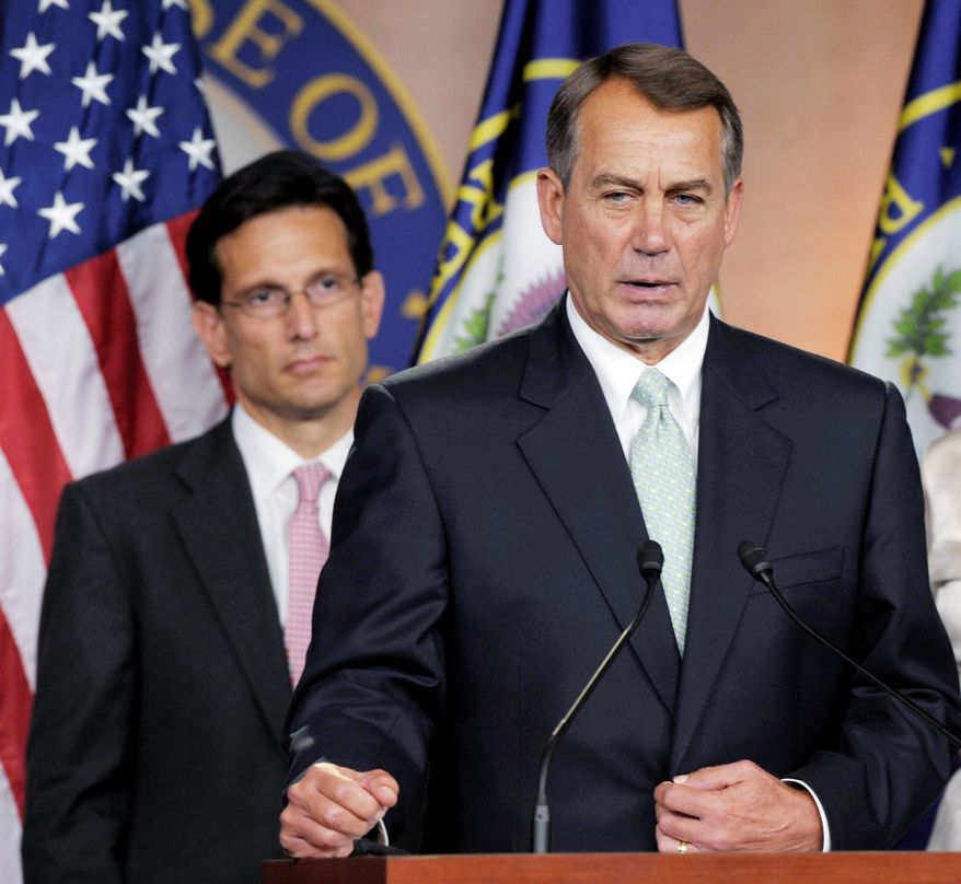 House Speaker John A. Boehner (right) and House Majority Leader Eric Cantor. (Associated Press)
