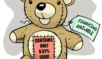 Illustration: 99.99% lead-free teddy bear by Alexander Hunter for The Washington Times