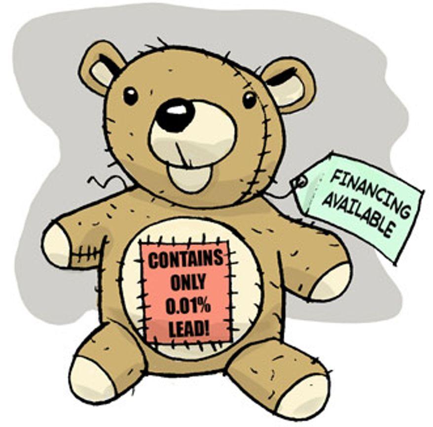 Illustration: 99.99% lead-free teddy bear by Alexander Hunter for The Washington Times