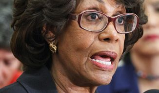 Rep. Maxine Waters, California Democrat, wants the House to dismiss an ethics case centered on a bailout for a bank where her husband is an investor. (Associated Press)