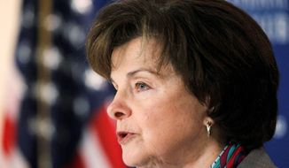 """""""We're in this for the long march, not just the short hop,"""" said Sen. Dianne Feinstein, California Democrat, in backing a Respect for Marriage Act. (Associated Press)"""