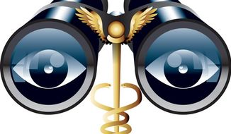 Illustration: Spying on doctors by Linas Garsys for The Washington Times