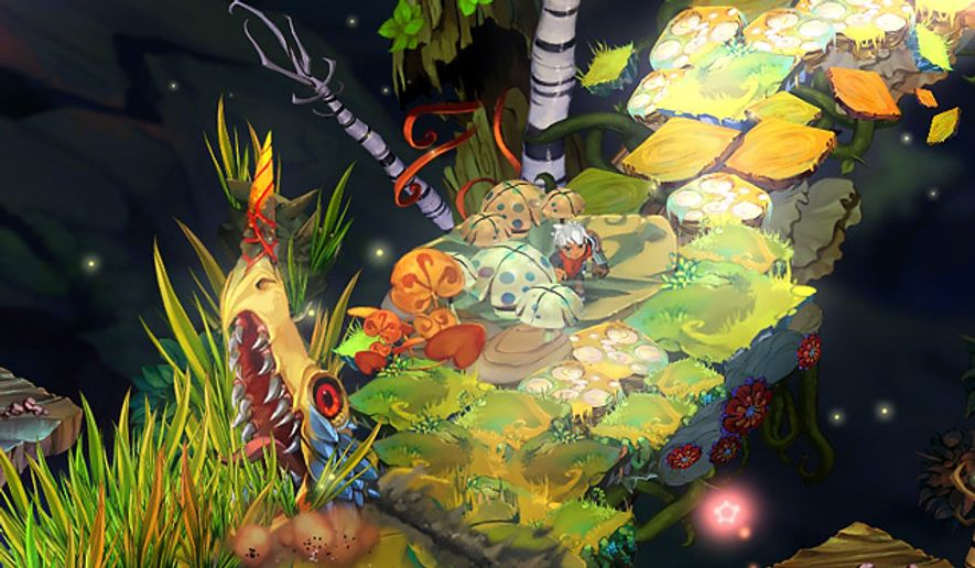 The Kid explores wondrous, hand painted locations in the video game Bastion.