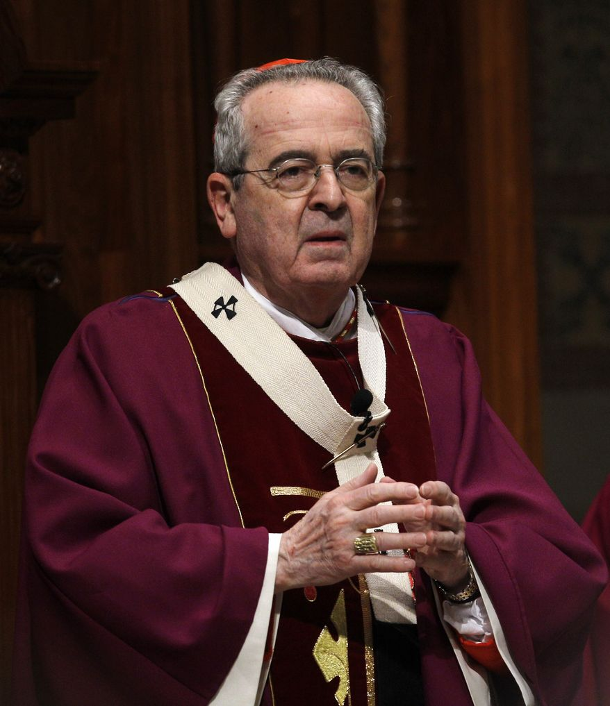 Cardinal Justin Rigali is stepping down as archbishop of Philadelphia. (AP Photo/Matt Rourke)