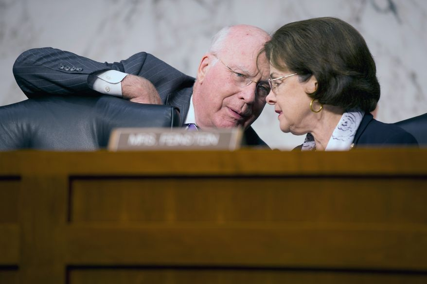 Sen. Patrick J. Leahy of Vermont confers Wednesday with his fellow Democrat, Sen. Dianne Feinstein of California. Mrs. Feinstein is a co-sponsor of a bill to repeal DOMA, which passed Congress in 1996. Mr. Leahy voted for it then, but now supports its repeal.