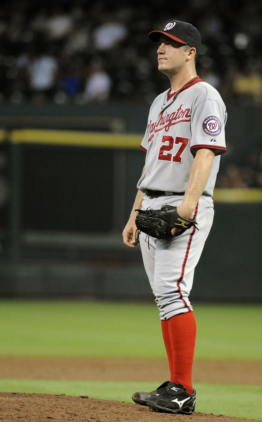 Washington Nationals starting pitcher Jordan Zimmerman takes a moment off the mound in the fourth inning of a baseball game against the Houston Astros on Tuesday. Zimmermann allowed six earned runs in the Nats' 7-6 loss to the Astros. (AP Photo/Pat Sullivan)