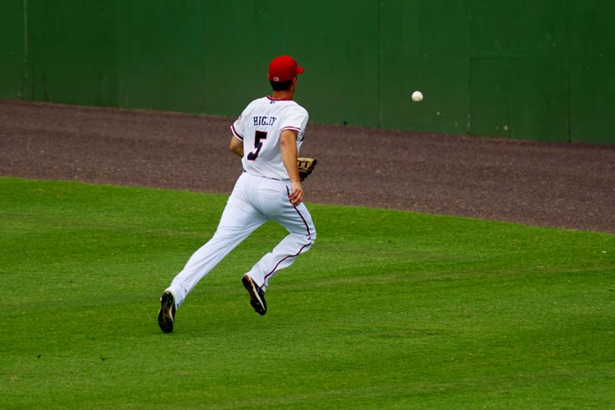 Potomac Nationals outfielder J.R. Higley chases after a ball in right field, where top prospect Bryce Harper would have played.  (Drew Angerer/The Washington Times)
