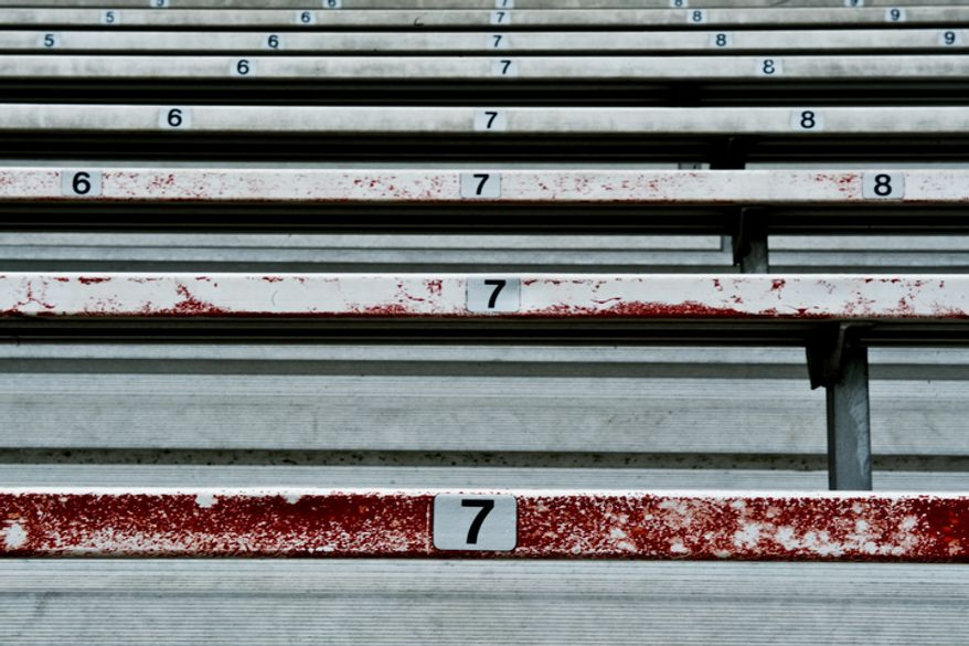 Rusty bleacher seats are seen at Pfitzner Stadium,  in Woodbridge, Va., Tuesday, July 19, 2011.  (Drew Angerer/The Washington Times)