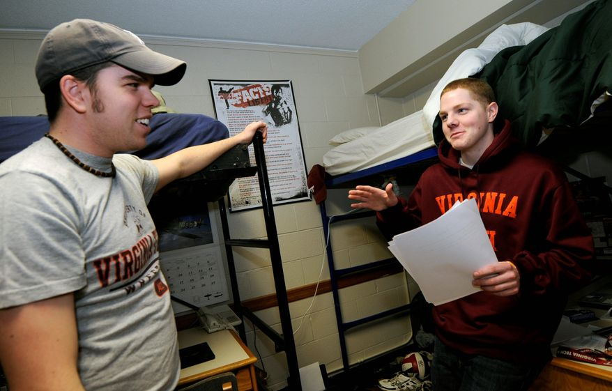 Virginia Tech senior and resident adviser David Dorsett (left) visits with fellow student Matt Londrey. Virginia Tech, among many other public colleges and universities, is raising tuition rates this fall. (Associated Press)