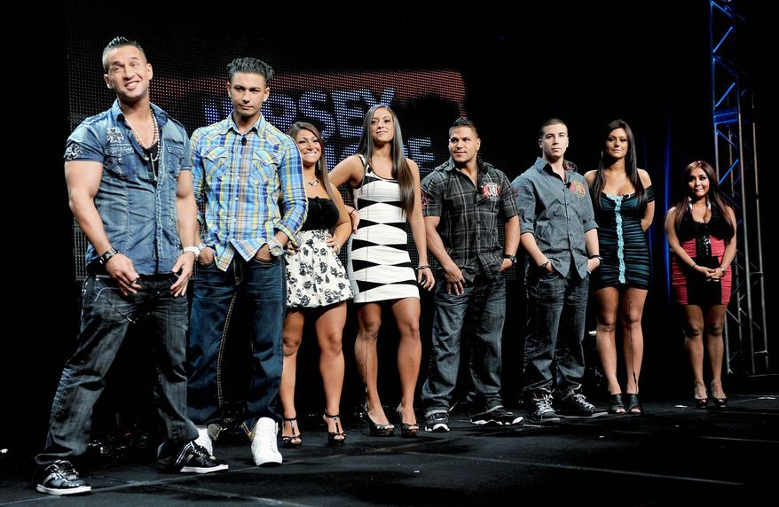 """Stars of MTV's """"Jersey Shore"""" (from left) Michael """"the Situation"""" Sorrentino, Pauly """"Pauly D"""" Del Vecchio, Deena Nicole Cortese, Sammi """"Sweetheart"""" Giancola, Ronnie """"Fist Pump Brah"""" Magro, Vinny Guadagnino, Jenni """"Jwoww"""" Farley and Nicole """"Snooki"""" Polizzi will be the subjects of academic discussions in October at the University of Chicago. (Associated Press)"""