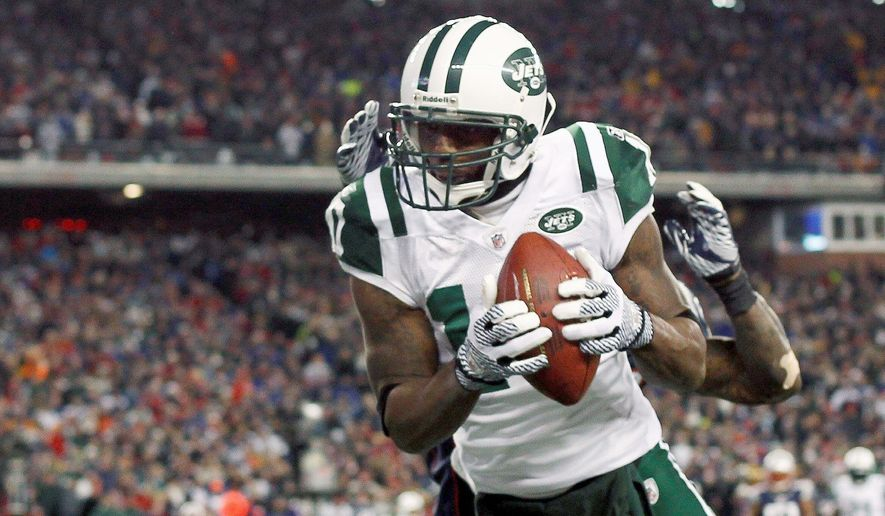 Santonio Holmes is reported to be the Redskins' top priority in free agency. He caught 52 passes last year for the New York Jets. (Associated Press)