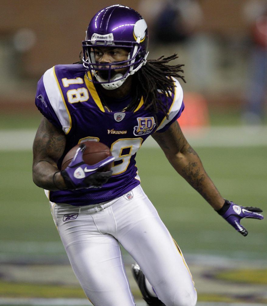 Minnesota Vikings wide receiver Sidney Rice is on the Redskins' radar in free agency with a decision still to be made on whether to re-sign Santana Moss, the team's top receiver since 2005. (Associated Press)