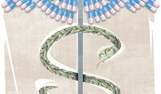Prescription drugs (Illustration by Linas Garsys/The Washington Times)
