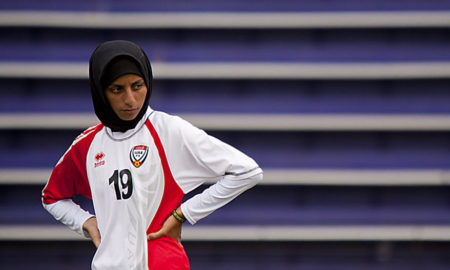 Shahad Ahmed Budebs of the UAE women's national soccer team attends a soccer clinic at Cardozo High School in Northwest Washington, D.C. on Wednesday, July 13, 2011. (Pratik Shah/The Washington Times)