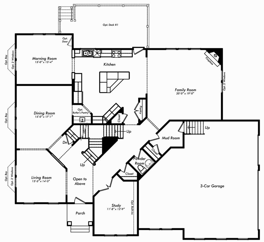 The Avery model features a morning room, center-island kitchen and family room across the back of the main level. Upstairs are four bedrooms, each with a private bath, and a laundry room.