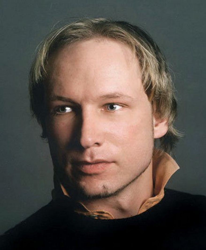 ** FILE ** Anders Behring Breivik, 32, in an image from his Twitter page, espoused his views against cultural Marxism and Islamism in a 12-minute English-language video that proposes a crusade and features him toting a machine gun. (Associated Press)
