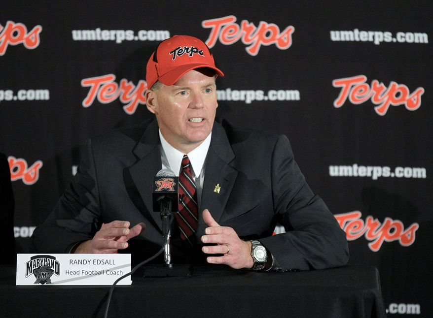 Maryland football coach Randy Edsall said his players' names won't be on the back of their uniforms. (Associated Press)