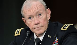 ** FILE ** Army Gen. Martin Dempsey testifies on Capitol Hill in Washington on Tuesday, July 26, 2011, at a Senate Armed Services Committee hearing on his nomination to be the next chairman of the Joint Chiefs of Staff. (Associated Press)