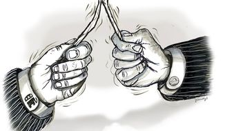 Illustration: Partisan fight by John Camejo for The Washington Times
