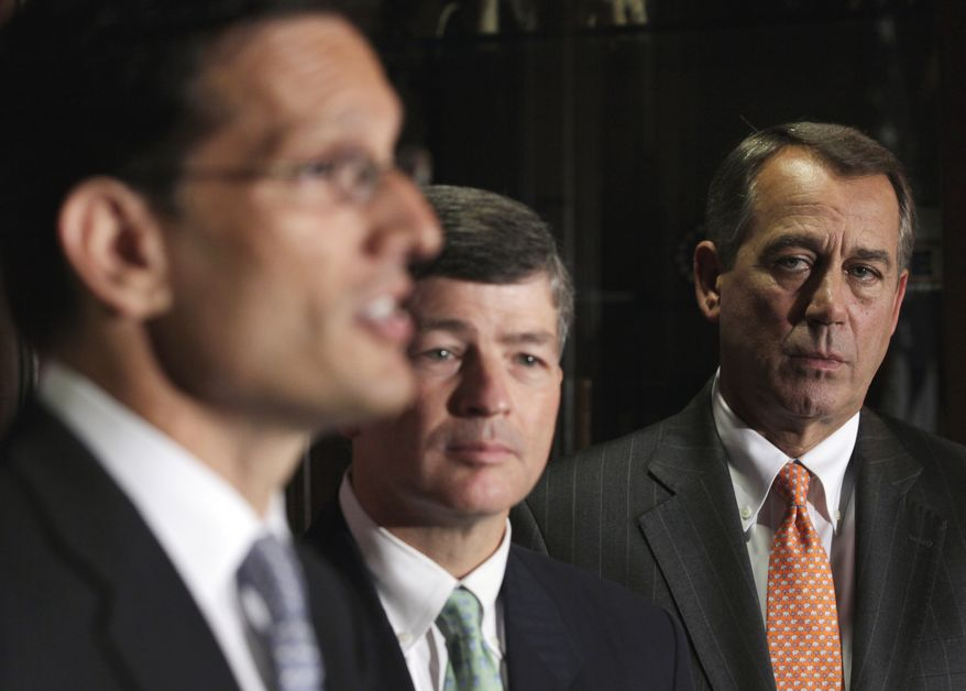 House Speaker John Boehner, (right) Ohio Republican, and Republican Conference Chairman Rep. Jeb Hensarling (center), Texas Republican, listen as House Majority Leader Eric Cantor, Virginia Republican, speaks July 26, 2011, during a news conference at the Republican National Committee on Capitol Hill. (Associated Press)