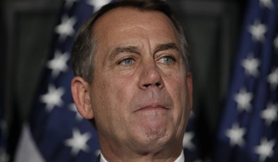 House Speaker John Boehner of Ohio pauses during a news conference as at The Republican National Committee on Capitol Hill, Tuesday, July 26, 2011, in Washington. (AP Photo/Carolyn Kaster)