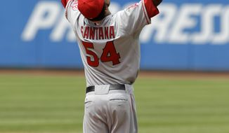 Los Angeles Angels starting pitcher Ervin Santana celebrates the final out of the game after tossing a no-hitter against the Cleveland Indians on Wednesday. The Angels won 3-1. (AP Photo/Mark Duncan)