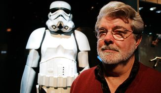 "** FILE ** In this Oct. 22, 2005, file photo, filmmaker George Lucas poses in front of a Stormtrooper exhibit at the Museum of Science in Boston, prior to the opening of ""Star Wars: Where Science Meets Imagination."" Britain's Supreme Court on Wednesday, July 27, 2011, delivered a mixed ruling in the epic battle between George Lucas' movie empire and a prop designer over the iconic stormtrooper helmets from the ""Star Wars"" films. (AP Photo/Winslow Townson, File)"