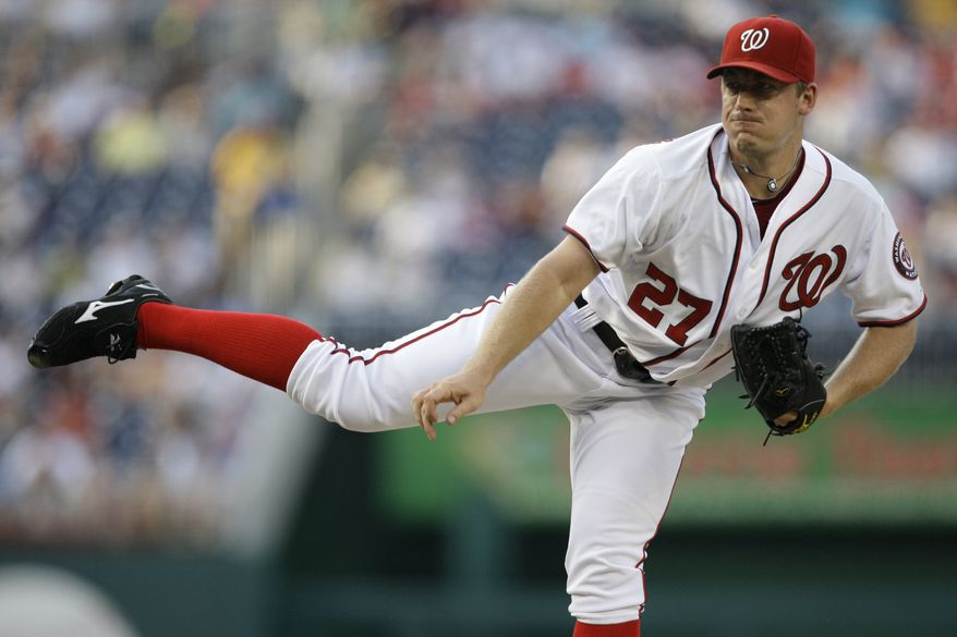 Washington Nationals starter Jordan Zimmermann follows through with a pitch during the second inning of a baseball game against the Florida Marlins at Nationals Park on Tuesday. (AP Photo/Jacquelyn Martin)